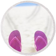 Seaside Holiday Concept With Copyspace Round Beach Towel