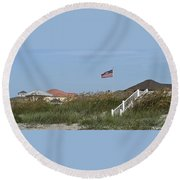Seaside Patriotism Round Beach Towel