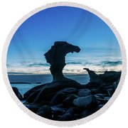Seaside Rock Formations At Daybreak Round Beach Towel