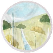 Seaside Sails Round Beach Towel