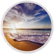 Seaside Sunset Round Beach Towel