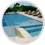 Seaside Swimming Pool As A Silk Screen Image Round Beach Towel