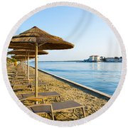 Seaside Time Round Beach Towel
