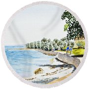 Seaside Town Round Beach Towel