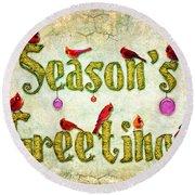 Season's Greetings Card Round Beach Towel