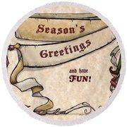 Season's Greetings Round Beach Towel