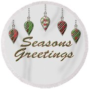 Seasons Greetings Merry Christmas Round Beach Towel
