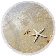 Seastars On Beach Round Beach Towel