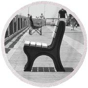 Seat On The Pier Round Beach Towel