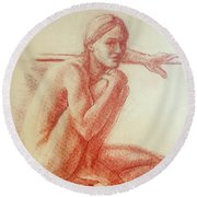 Seated At The Barre Round Beach Towel