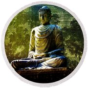 Seated Buddha Round Beach Towel