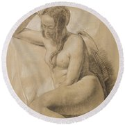 Seated Female Nude Round Beach Towel