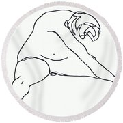 Seated Figure Round Beach Towel