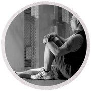 Seated In The Darkness Round Beach Towel