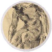 Seated Male Nude (sitzender M?nnlicher Akt) Round Beach Towel