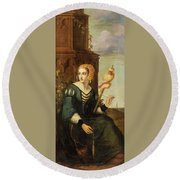 Seated Noble Lady With Distaff Round Beach Towel