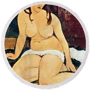 Seated Nude Round Beach Towel