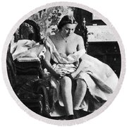Seated Nude, C1861 Round Beach Towel