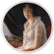 Seated Portrait Of Marie Philippe Claude Walbonne Round Beach Towel