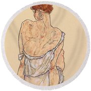 Seated Woman In Underwear Round Beach Towel