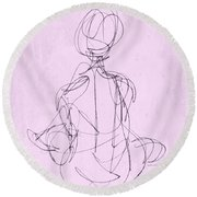 Seated Woman Round Beach Towel