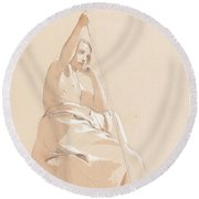 Seated Youth With A Staff Round Beach Towel