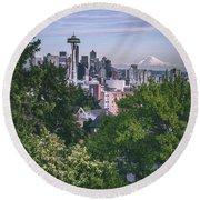 Seattle And Mt. Rainier Vertical Round Beach Towel