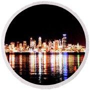 Seattle At Night - From Alki Beach Round Beach Towel