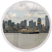 Seattle City Skyline Along Elliott Bay Round Beach Towel
