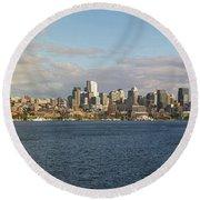 Seattle City Skyline Along Lake Union Round Beach Towel