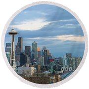 Seattle City Skyline At Dusk Panorama Round Beach Towel