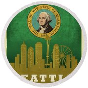 Seattle City Skyline State Flag Of Washington Art Poster Series 017 Round Beach Towel