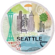 Seattle Cityscape- Art By Linda Woods Round Beach Towel