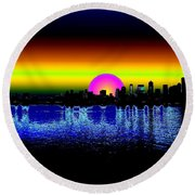 Seattle Dawning Round Beach Towel