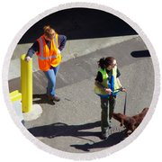 Seattle Dock Dog Workers 1 Round Beach Towel