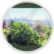 Seattle From A Hill Round Beach Towel