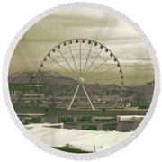 Seattle Great Wheel And Pier 57 Round Beach Towel