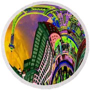 Seattle In Daliland Round Beach Towel