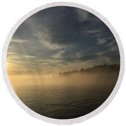 Seattle Morning Fog Round Beach Towel