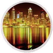 Seattle Panorama Reflection In Elliot Bay Round Beach Towel by Tim Rayburn