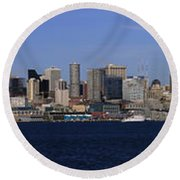 Seattle Panoramic Round Beach Towel by Adam Romanowicz