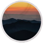 Seattle Puget Sound And The Olympics Sunset Layers Landscape Round Beach Towel