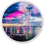 Seattle Rose Round Beach Towel