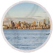 Seattle Skyline 2 Round Beach Towel