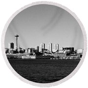 Seattle Skyline #2 Round Beach Towel