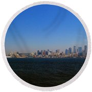 Seattle Skyline And Space Needle Round Beach Towel