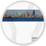 Seattle Skyline From Alki Round Beach Towel