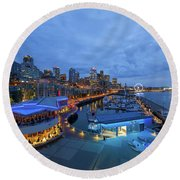 Seattle Skyline From The Waterfront At Blue Hour Round Beach Towel