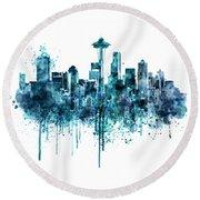 Seattle Skyline Monochrome Watercolor Round Beach Towel