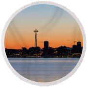 Seattle Skyline Silhouette At Sunrise Round Beach Towel